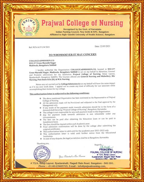 Prajwal College of Nursing Bangalore Awards and Authorization